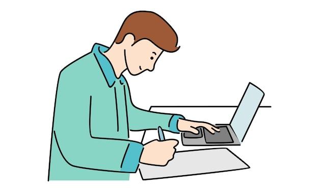 Jovem trabalhando com laptop