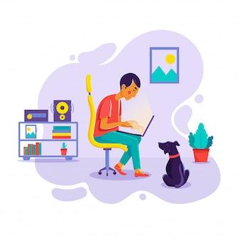 Jovem, trabalhando em seu computador em casa, acompanhado por seu cachorro.