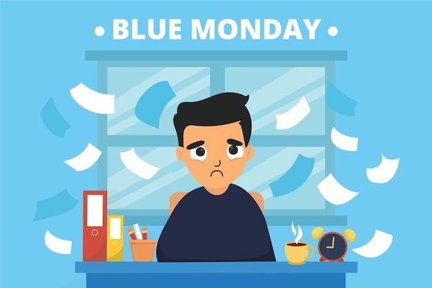 Jovem triste na segunda-feira azul