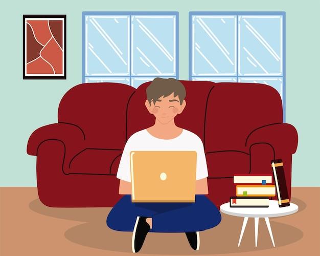 Jovem usando laptop sentado no sofá da sala, ilustração do trabalho para casa