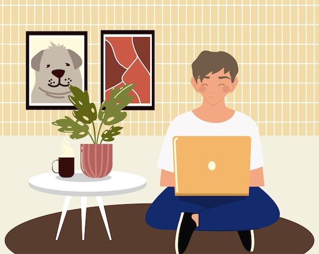 Jovem usando laptop, trabalhando sentado no chão da sala, ilustração de trabalho em casa