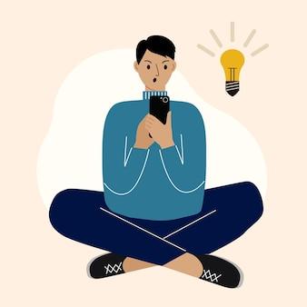Jovem usando o telefone, sentado de pernas cruzadas e tendo ideias. o conceito de encontrar uma ideia e inspiração. ilustração vetorial.