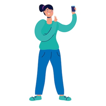 Jovem usando personagem de tecnologia do smartphone.