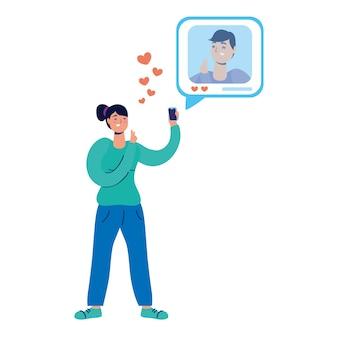 Jovem usando smartphone conversando romântico.