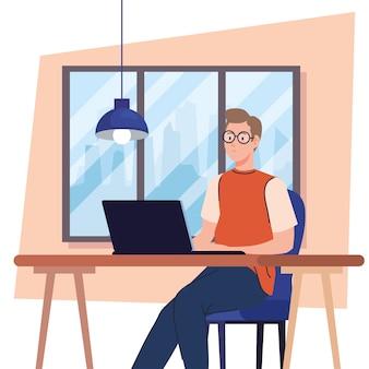 Jovem usando um laptop na mesa, trabalhando ilustração online