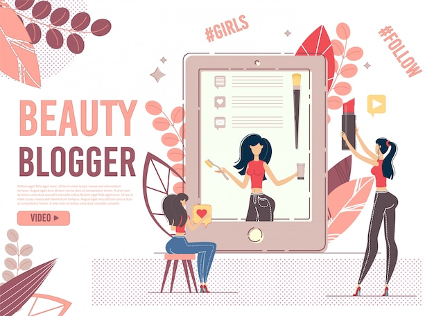 Jovem usuário do sexo feminino assiste beleza blogger no dispositivo