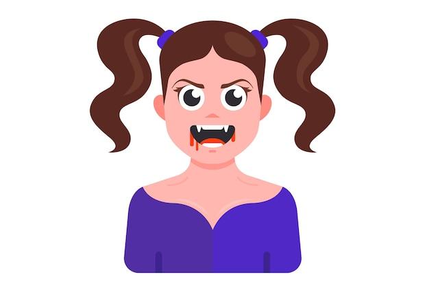 Jovem vampira loira com sangue nos lábios e presas. ilustração em vetor personagem plana.