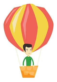Jovem voando em balão de ar quente.