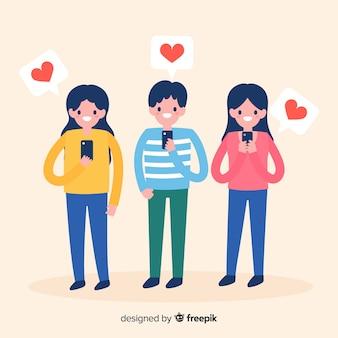 Jovens à procura de gostos nas redes sociais