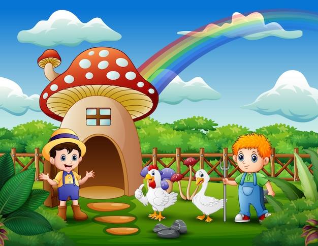 Jovens agricultores com animais na casa de cogumelo