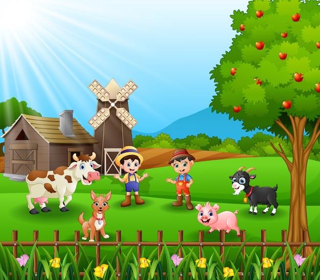 Jovens, agricultores, mantendo, animais, em, fazenda