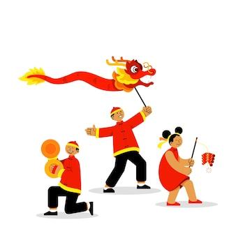 Jovens alegres comemoram o ano novo chinês