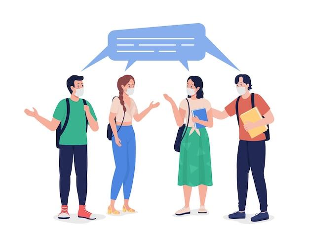 Jovens alunos conversando em máscaras de personagem de vetor de cor semi plana. figuras de alunos da escola. pessoas de corpo inteiro em branco. ilustração de estilo cartoon moderno isolado adolescentes para design gráfico e animação