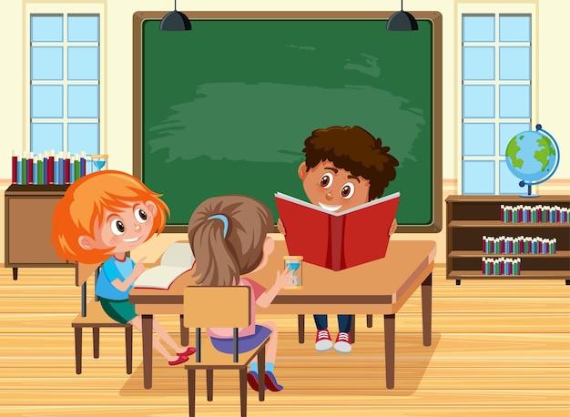 Jovens alunos fazendo lição de casa na cena da sala de aula