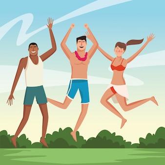 Jovens amigos e cartoons de verão