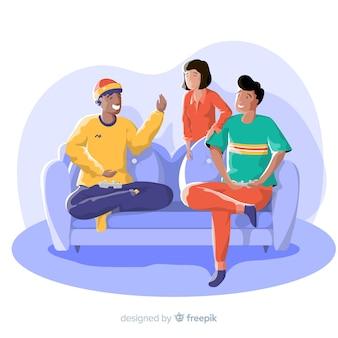 Jovens amigos fazendo atividades em casa. design de personagem