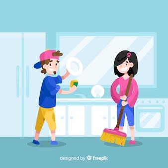 Jovens amigos fazendo trabalhos domésticos