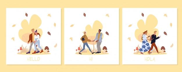 Jovens andam na floresta no conjunto de cartões