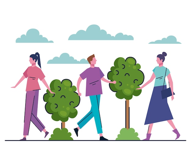 Jovens andando na ilustração de personagens de avatares do parque
