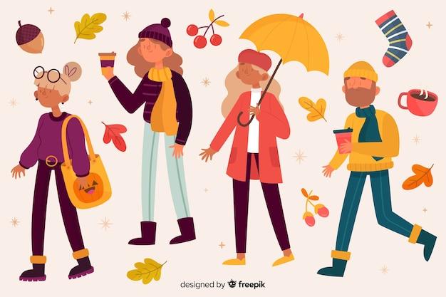 Jovens andando no parque ilustrado