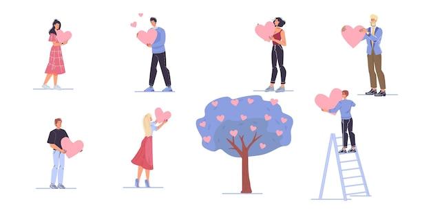 Jovens apaixonados conjunto de ilustrações planas para o dia dos namorados