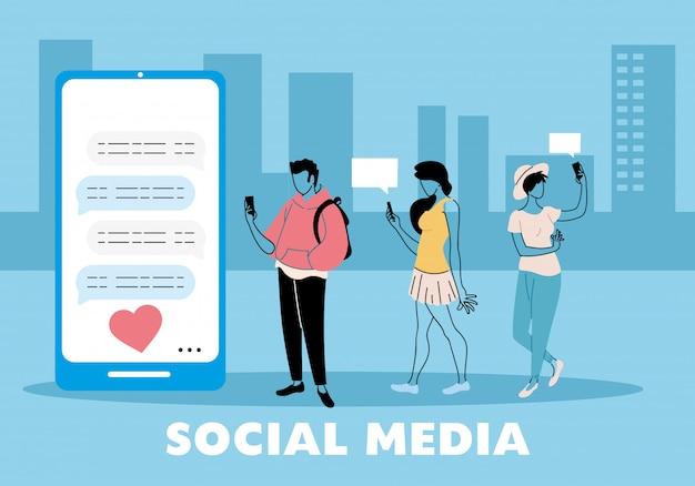 Jovens apaixonados mandando mensagens no celular