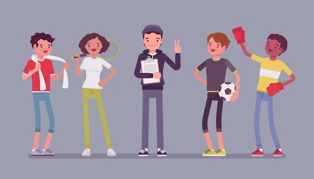 Jovens atletas profissionais esportivos, treinador masculino