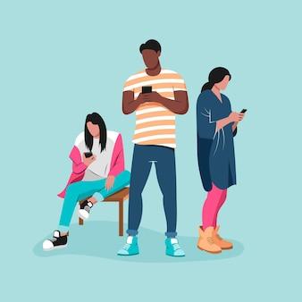 Jovens atraídos usando smartphones