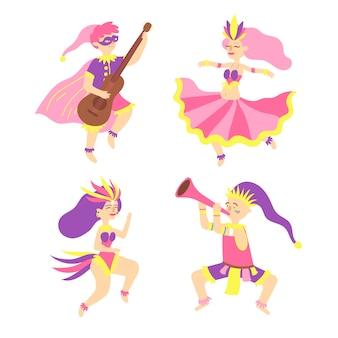 Jovens bailarinos de carnaval em fantasias de fantasia