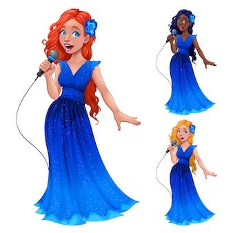Jovens cantores em diferentes cores vector cartoon personagens isolados