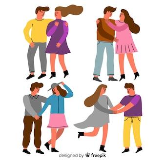 Jovens casais apaixonados juntos