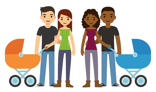 Jovens casais bonitos dos desenhos animados, caucasianos e negros, com um carrinho de bebê.