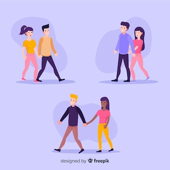 Jovens casais românticos caminhando juntos