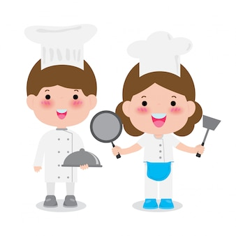 Jovens chefs profissionais, ilustração de chefs culinários fofos isolado no branco