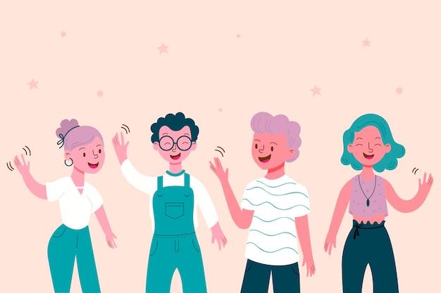 Jovens cidadãos acenando a mão