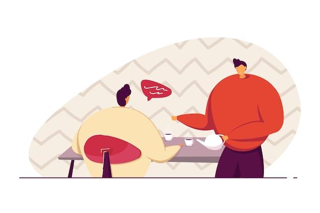 Jovens colegas do sexo masculino tomando café na sala de café. trabalhadores de escritório conversando, tendo descanso ilustração vetorial plana. pausa para o café, conceito de comunicação para banner, design do site ou página de destino