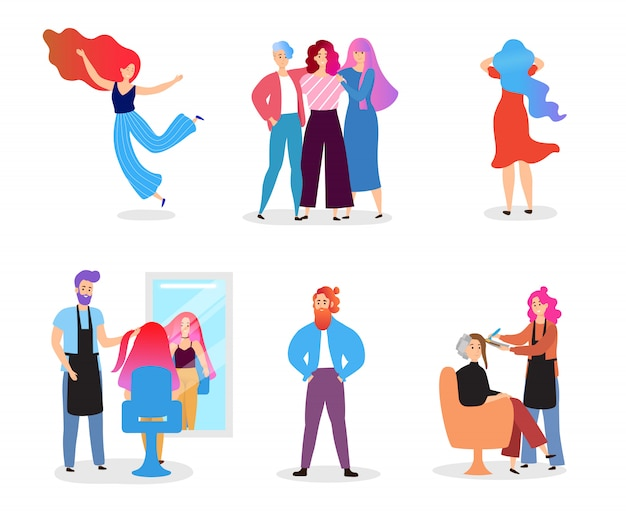 Jovens com cabelos coloridos na ilustração de mão desenhada personagem isolada.
