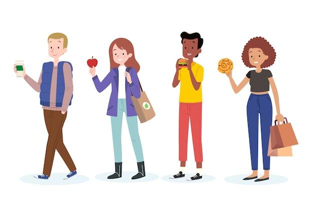 Jovens com comida saudável