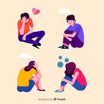 Jovens, com, diferente, emoções