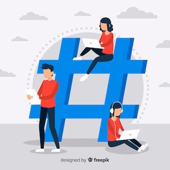 Jovens, com, hashtag, símbolo
