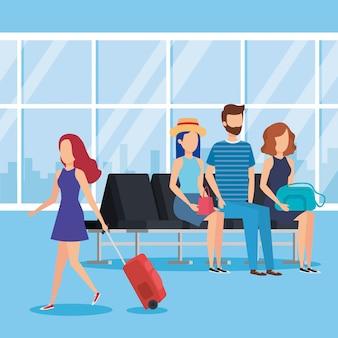 Jovens, com, malas, em, a, aeroporto