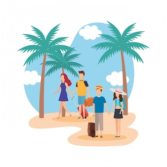 Jovens, com, malas, praia