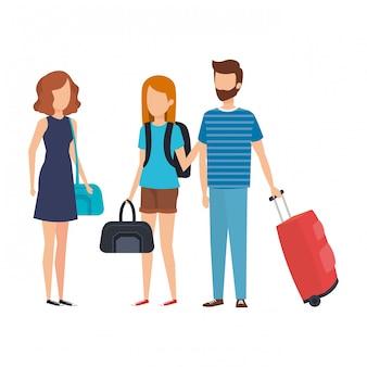 Jovens, com, malas, viagem