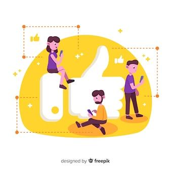 Jovens, com, polegar, semelhante, símbolo