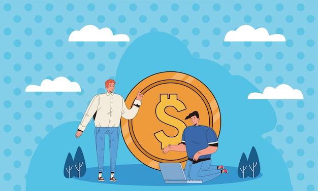 Jovens com projeto de ilustração de ícones de negócios financeiros