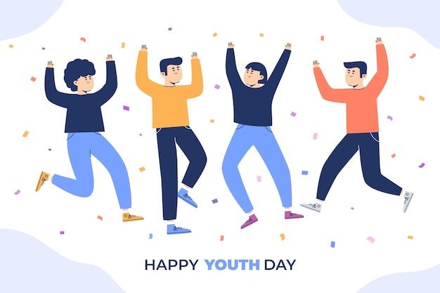 Jovens comemorando o dia da juventude