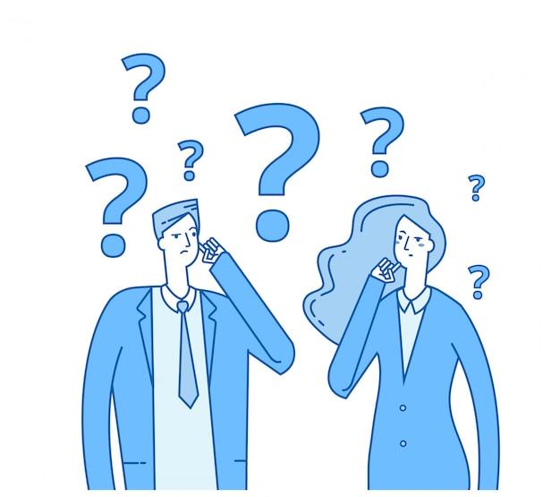 Jovens confusos com pontos de interrogação