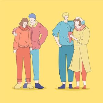 Jovens coreanos de moda ilustrada