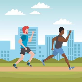 Jovens correndo atletas na cidade
