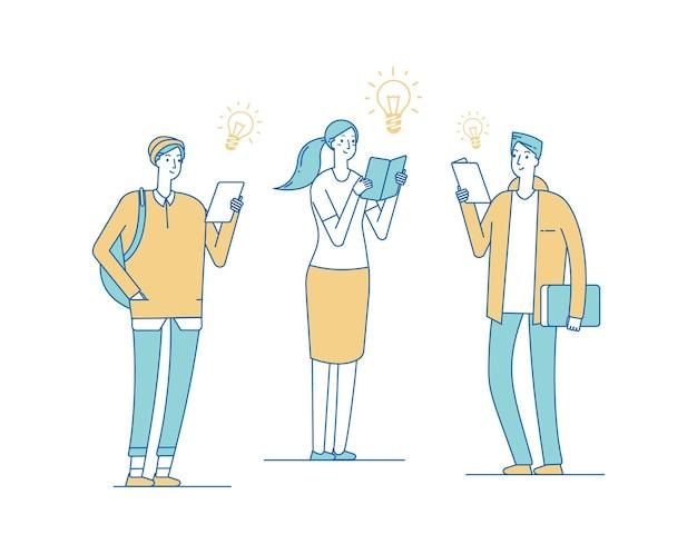 Jovens criativos. adolescentes lendo livros, alunos encontrando soluções.